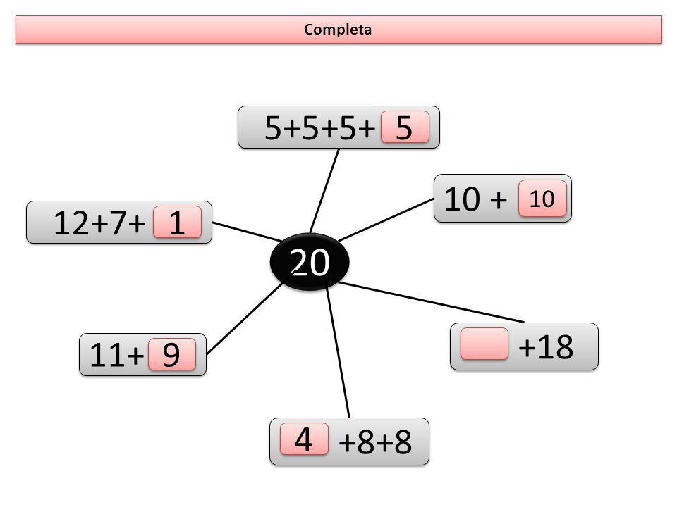 Une as operações ao respectivo resultado 20-4 10- 5 20-1 10 - 2 18+2 12- 0 10 + 10 7 + 5 13 - 8 17 +2 10 + 6 2 + 6 19 5 5 20 12 16 8 8
