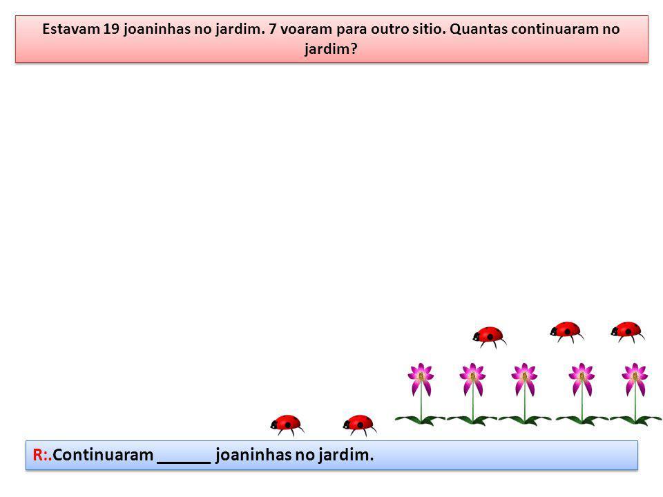 Estavam 19 joaninhas no jardim. 7 voaram para outro sitio. Quantas continuaram no jardim? R:.Continuaram ______ joaninhas no jardim.
