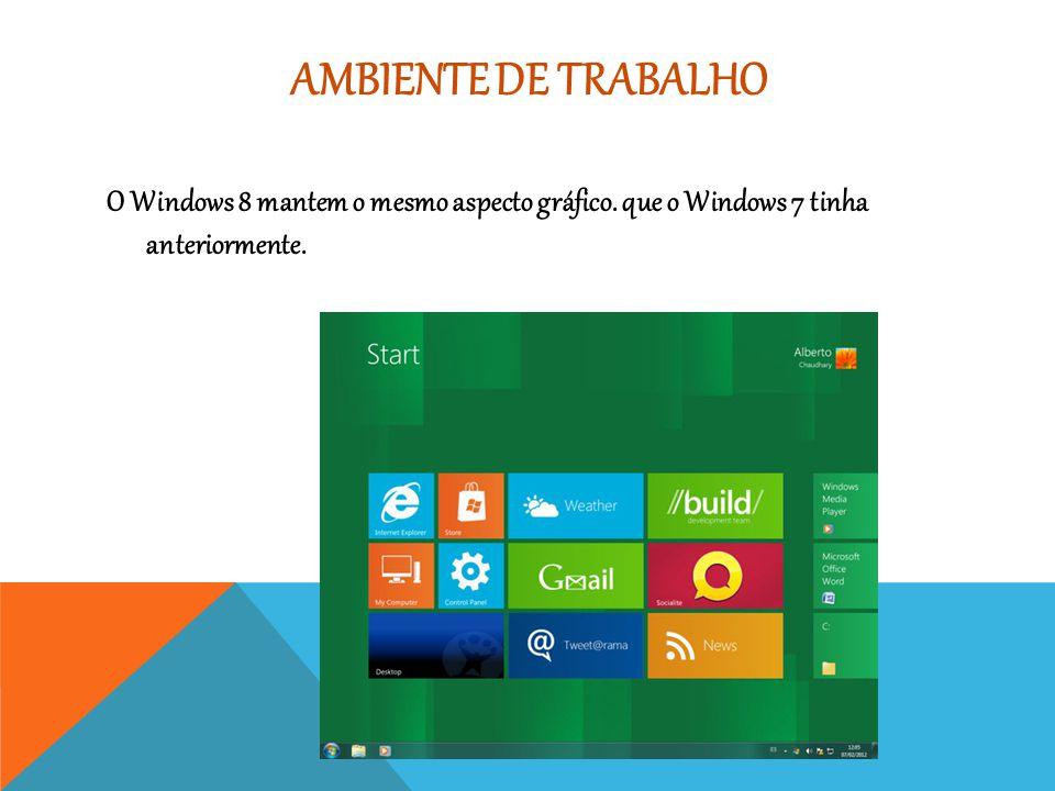 AMBIENTE DE TRABALHO O Windows 8 mantem o mesmo aspecto gráfico. que o Windows 7 tinha anteriormente.