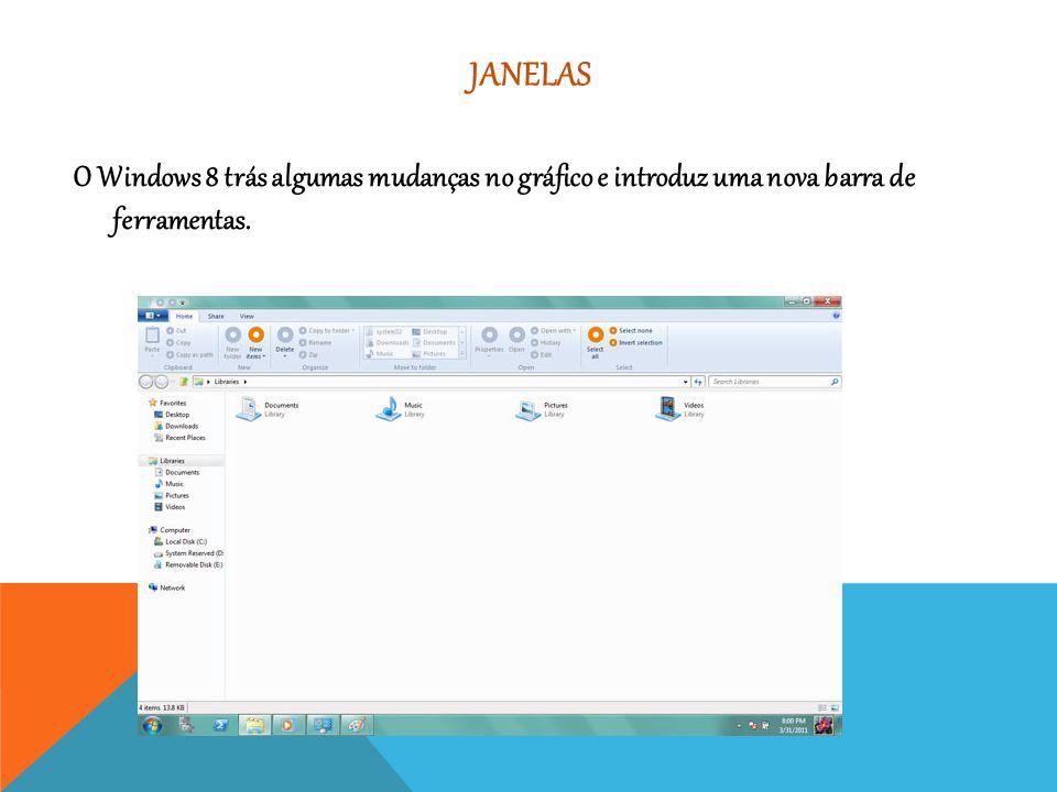 JANELAS O Windows 8 trás algumas mudanças no gráfico e introduz uma nova barra de ferramentas.