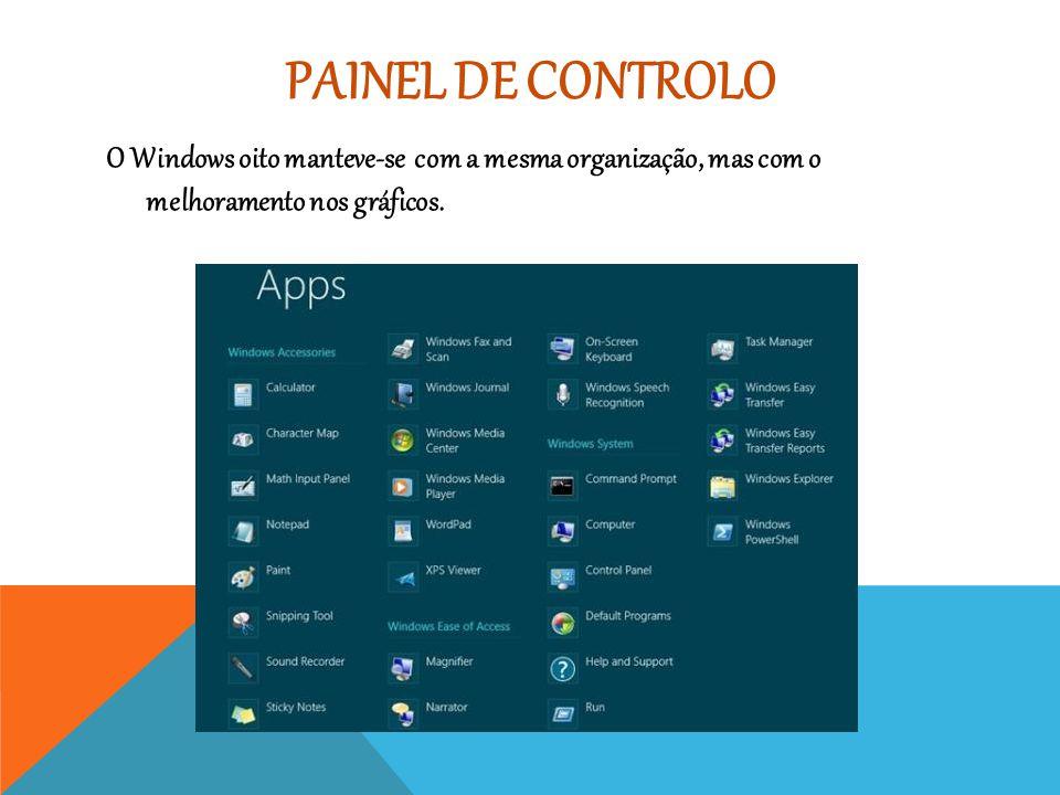 PAINEL DE CONTROLO O Windows oito manteve-se com a mesma organização, mas com o melhoramento nos gráficos.