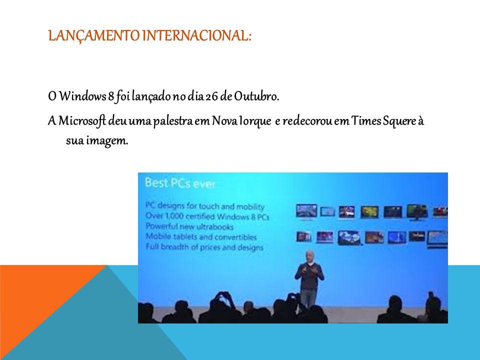 LANÇAMENTO INTERNACIONAL: O Windows 8 foi lançado no dia 26 de Outubro. A Microsoft deu uma palestra em Nova Iorque e redecorou em Times Squere à sua