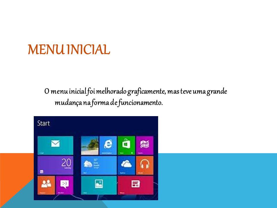 MENU INICIAL O menu inicial foi melhorado graficamente, mas teve uma grande mudança na forma de funcionamento.