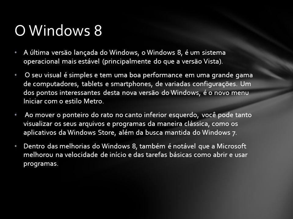 A última versão lançada do Windows, o Windows 8, é um sistema operacional mais estável (principalmente do que a versão Vista). O seu visual é simples