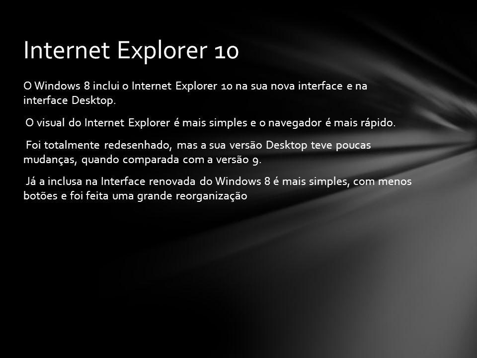 O Windows 8 inclui o Internet Explorer 10 na sua nova interface e na interface Desktop. O visual do Internet Explorer é mais simples e o navegador é m