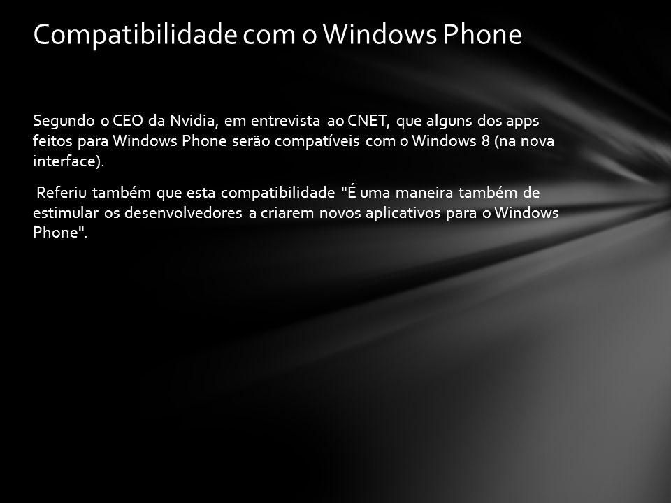 Segundo o CEO da Nvidia, em entrevista ao CNET, que alguns dos apps feitos para Windows Phone serão compatíveis com o Windows 8 (na nova interface). R