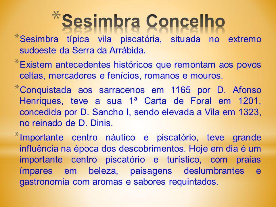 * Sesimbra típica vila piscatória, situada no extremo sudoeste da Serra da Arrábida.