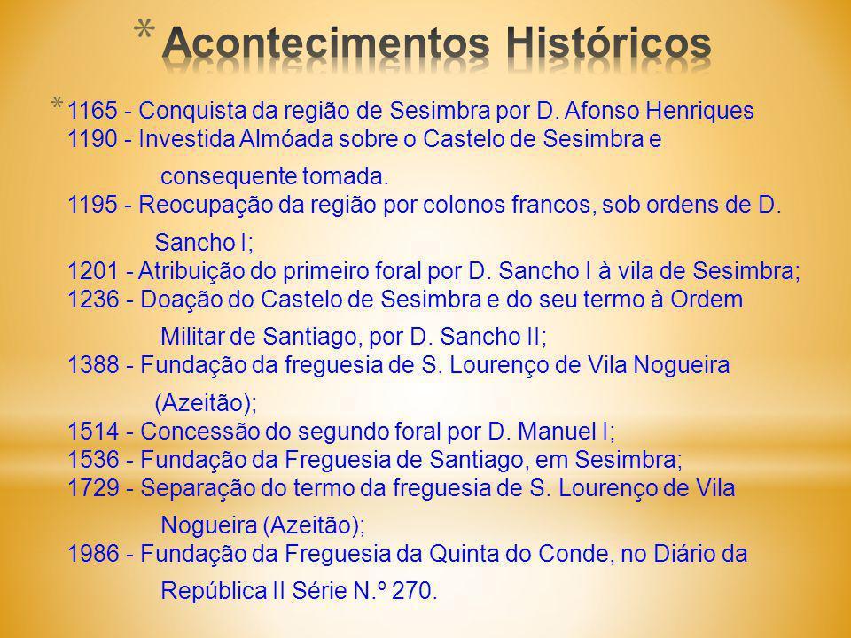 * 1165 - Conquista da região de Sesimbra por D.