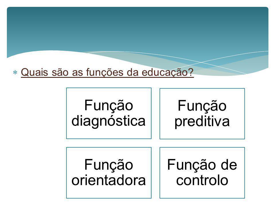 Função diagnóstica Função preditiva Função orientadora Função de controlo Quais são as funções da educação?