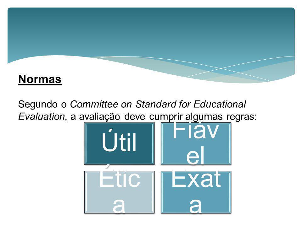 Normas Segundo o Committee on Standard for Educational Evaluation, a avaliação deve cumprir algumas regras: Útil Fiáv el Étic a Exat a