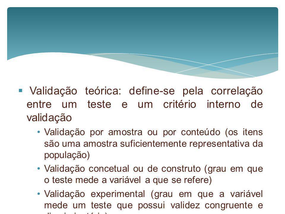 Validação teórica: define-se pela correlação entre um teste e um critério interno de validação Validação por amostra ou por conteúdo (os itens são uma