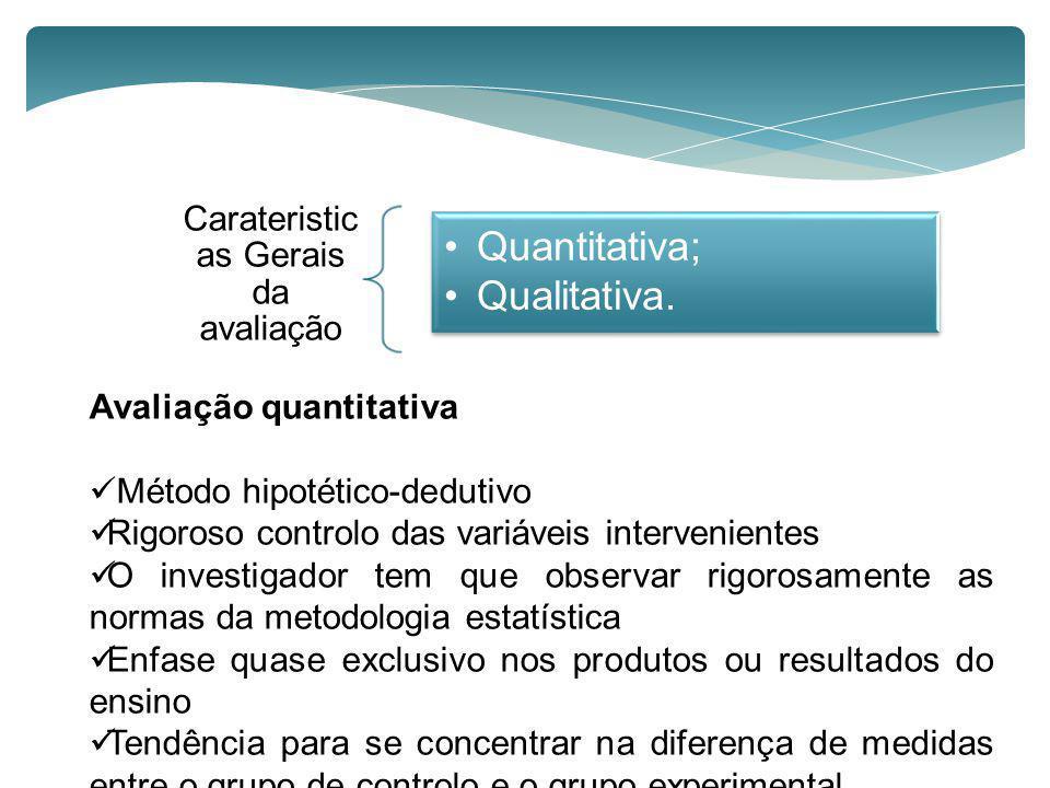 Avaliação quantitativa Método hipotético-dedutivo Rigoroso controlo das variáveis intervenientes O investigador tem que observar rigorosamente as norm