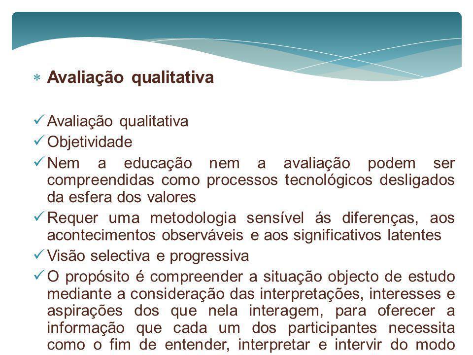 Avaliação qualitativa Avaliação qualitativa Objetividade Nem a educação nem a avaliação podem ser compreendidas como processos tecnológicos desligados
