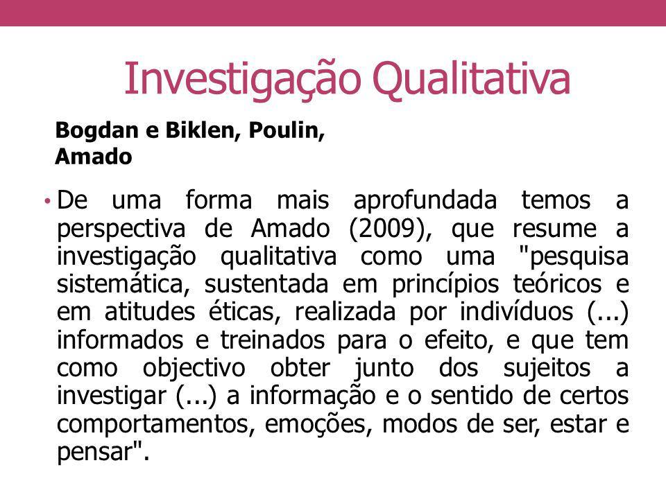 Investigação Qualitativa De uma forma mais aprofundada temos a perspectiva de Amado (2009), que resume a investigação qualitativa como uma