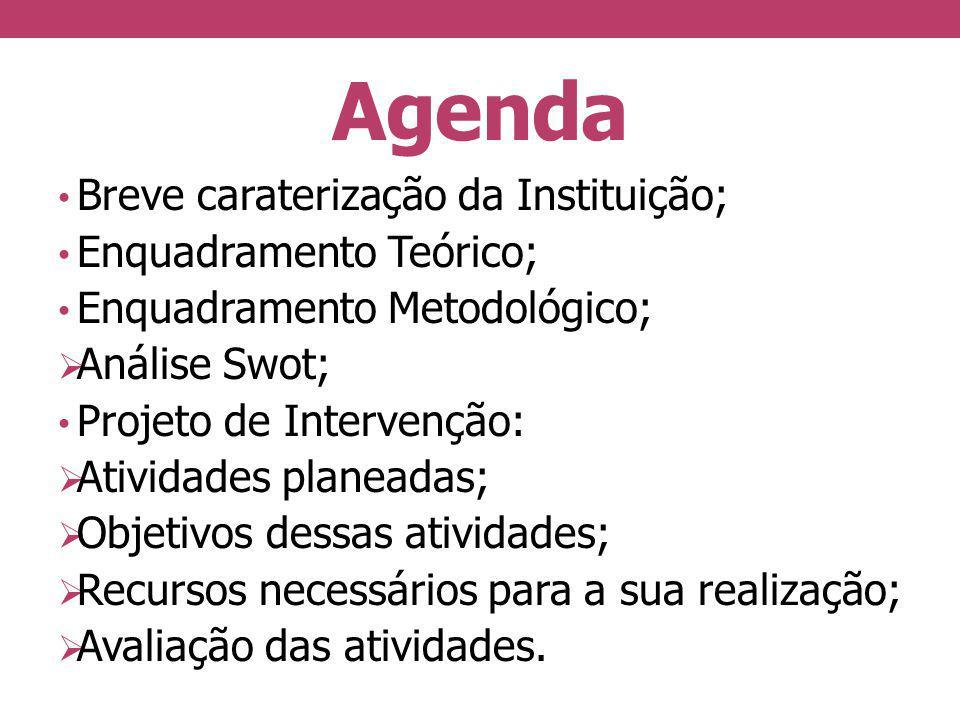 Agenda Breve caraterização da Instituição; Enquadramento Teórico; Enquadramento Metodológico; Análise Swot; Projeto de Intervenção: Atividades planead