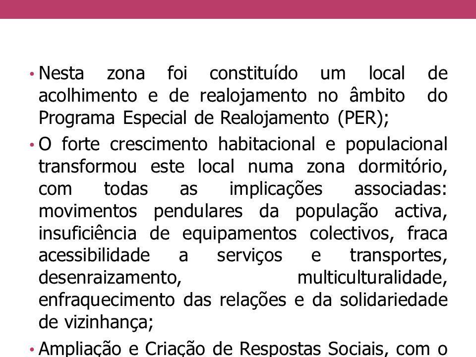 Nesta zona foi constituído um local de acolhimento e de realojamento no âmbito do Programa Especial de Realojamento (PER); O forte crescimento habitac