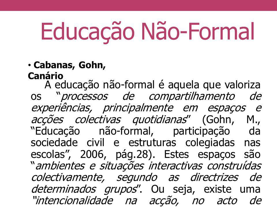 Educação Não-Formal A educação não-formal é aquela que valoriza os processos de compartilhamento de experiências, principalmente em espaços e acções c