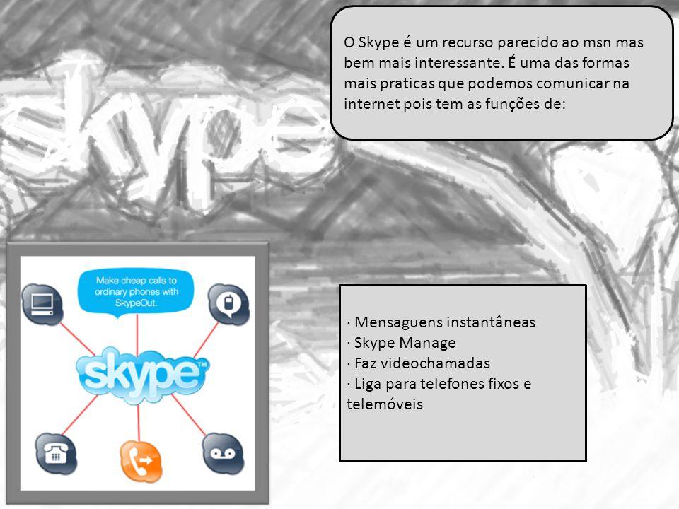 · Mensaguens instantâneas · Skype Manage · Faz videochamadas · Liga para telefones fixos e telemóveis O Skype é um recurso parecido ao msn mas bem mai