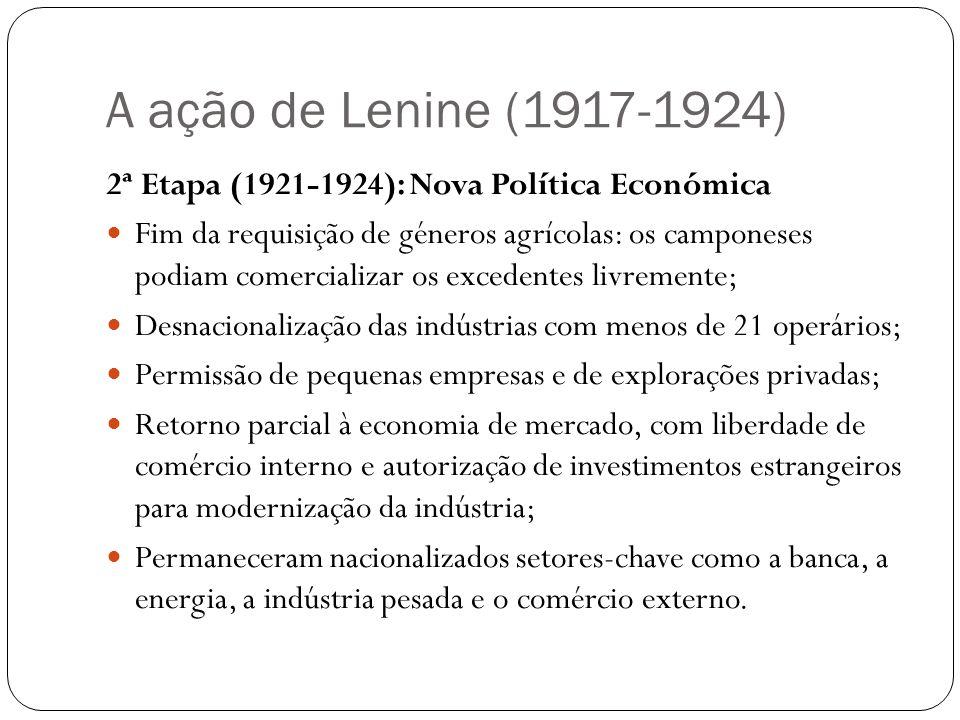 A ação de Lenine (1917-1924) 2ª Etapa (1921-1924): Nova Política Económica Fim da requisição de géneros agrícolas: os camponeses podiam comercializar