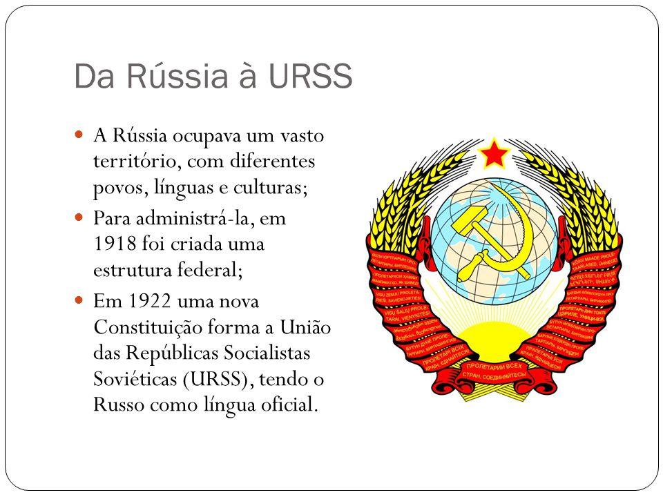 Da Rússia à URSS A Rússia ocupava um vasto território, com diferentes povos, línguas e culturas; Para administrá-la, em 1918 foi criada uma estrutura