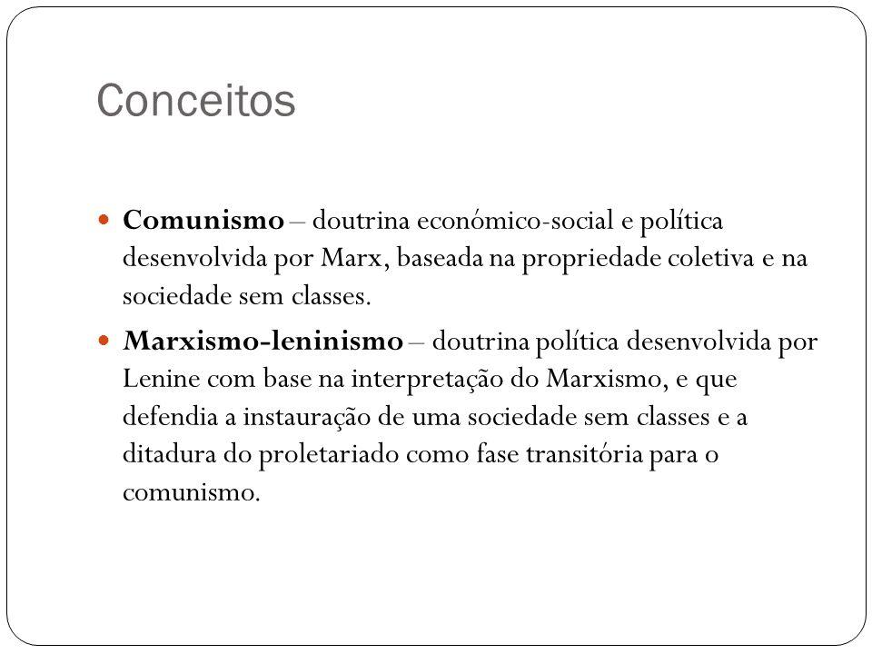 Conceitos Comunismo – doutrina económico-social e política desenvolvida por Marx, baseada na propriedade coletiva e na sociedade sem classes. Marxismo