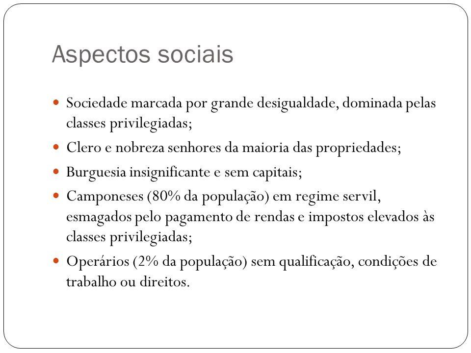 Aspectos sociais Sociedade marcada por grande desigualdade, dominada pelas classes privilegiadas; Clero e nobreza senhores da maioria das propriedades