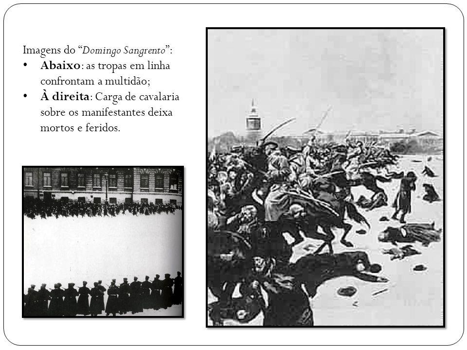 Imagens do Domingo Sangrento: Abaixo: as tropas em linha confrontam a multidão; À direita: Carga de cavalaria sobre os manifestantes deixa mortos e fe