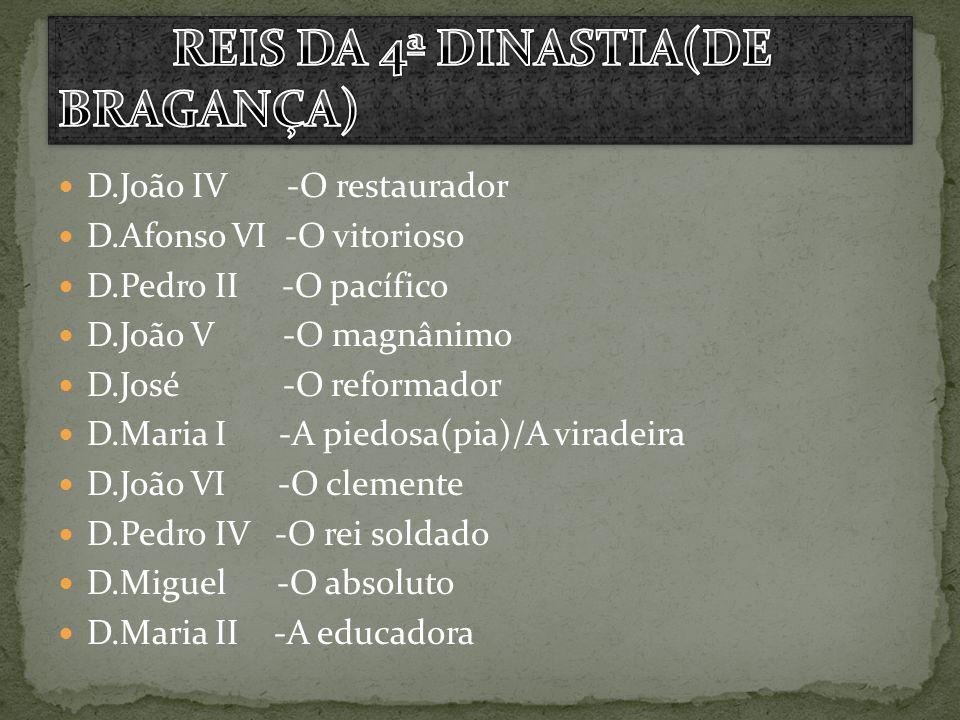 D.João IV -O restaurador D.Afonso VI -O vitorioso D.Pedro II -O pacífico D.João V -O magnânimo D.José -O reformador D.Maria I -A piedosa(pia)/A virade