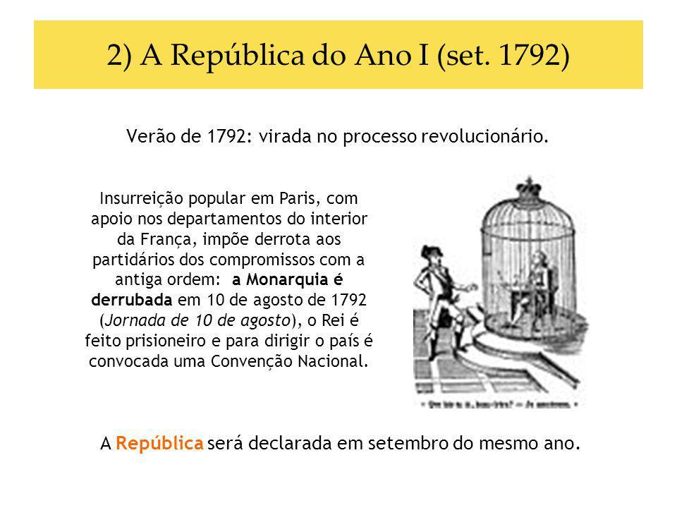 2) A República do Ano I (set. 1792) Verão de 1792: virada no processo revolucionário. A República será declarada em setembro do mesmo ano. Insurreição