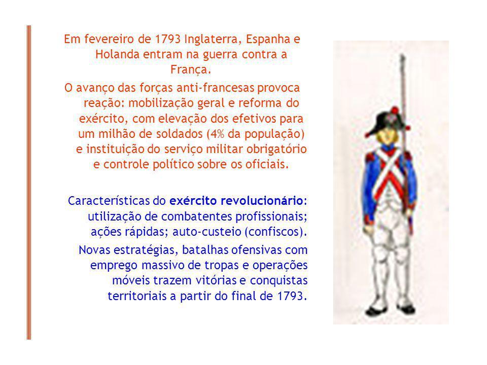 Em fevereiro de 1793 Inglaterra, Espanha e Holanda entram na guerra contra a França. O avanço das forças anti-francesas provoca reação: mobilização ge