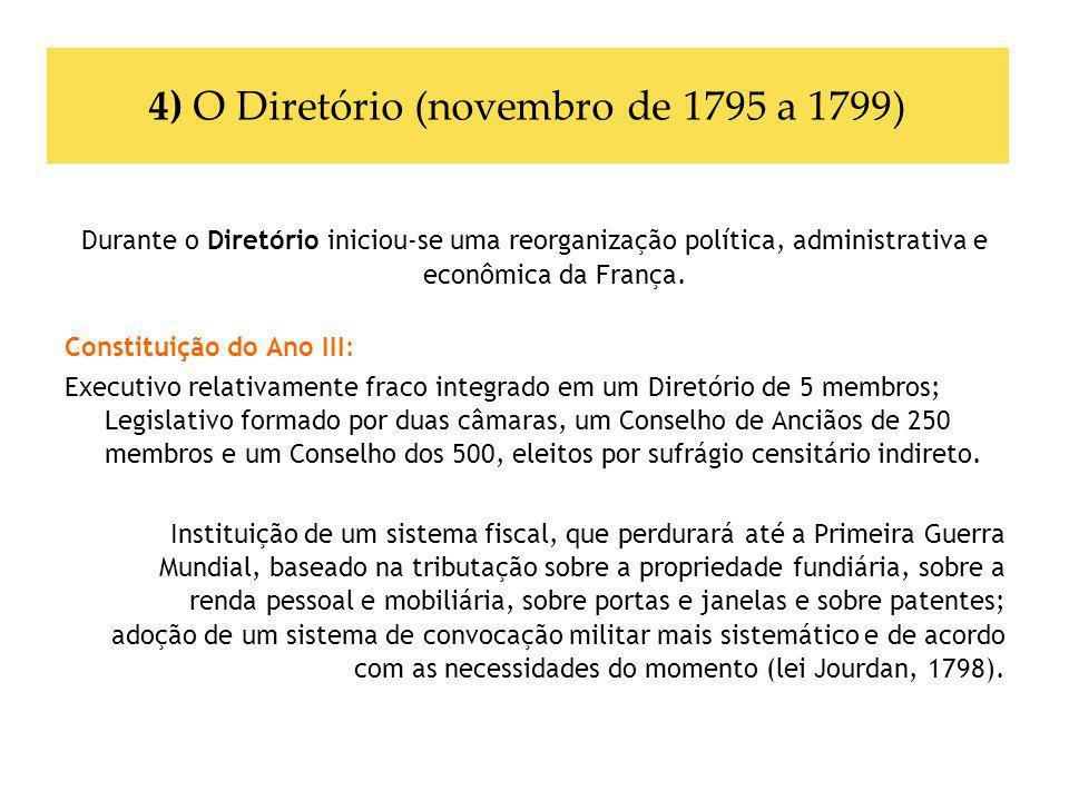 4) O Diretório (novembro de 1795 a 1799) Durante o Diretório iniciou-se uma reorganização política, administrativa e econômica da França. Constituição