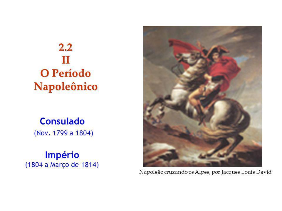 Consulado (Nov. 1799 a 1804) Império (1804 a Março de 1814) 2.2II O Período Napoleônico Napoleão cruzando os Alpes, por Jacques Louis David