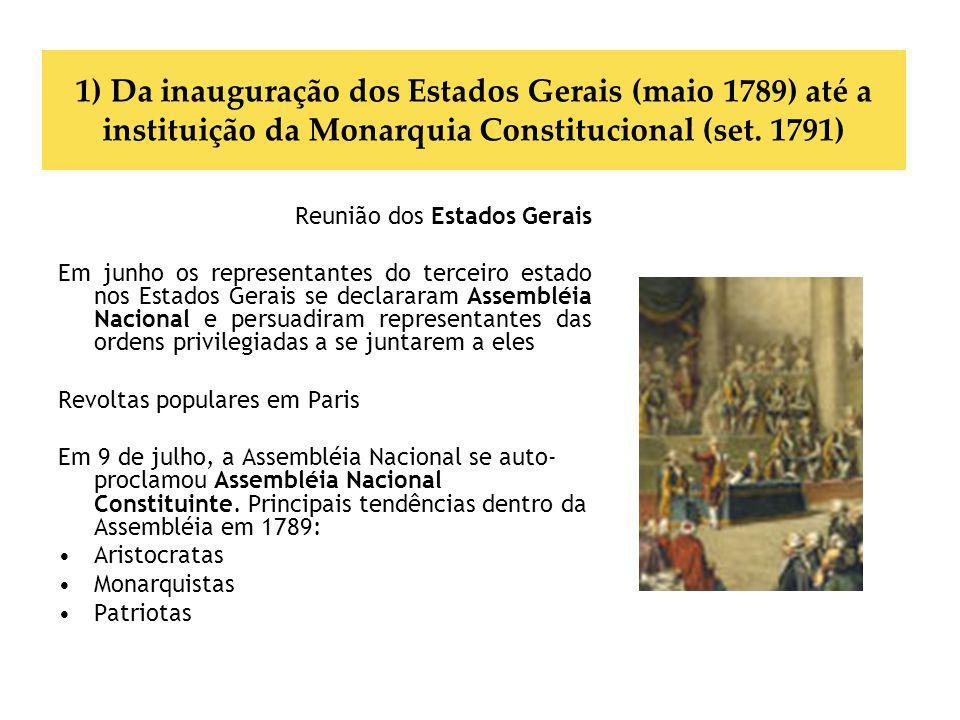 1) Da inauguração dos Estados Gerais (maio 1789) até a instituição da Monarquia Constitucional (set. 1791) Reunião dos Estados Gerais Em junho os repr