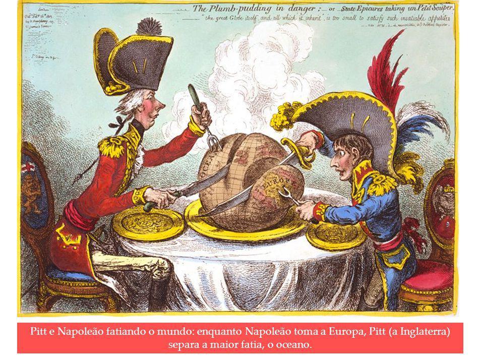 Pitt e Napoleão fatiando o mundo: enquanto Napoleão toma a Europa, Pitt (a Inglaterra) separa a maior fatia, o oceano.