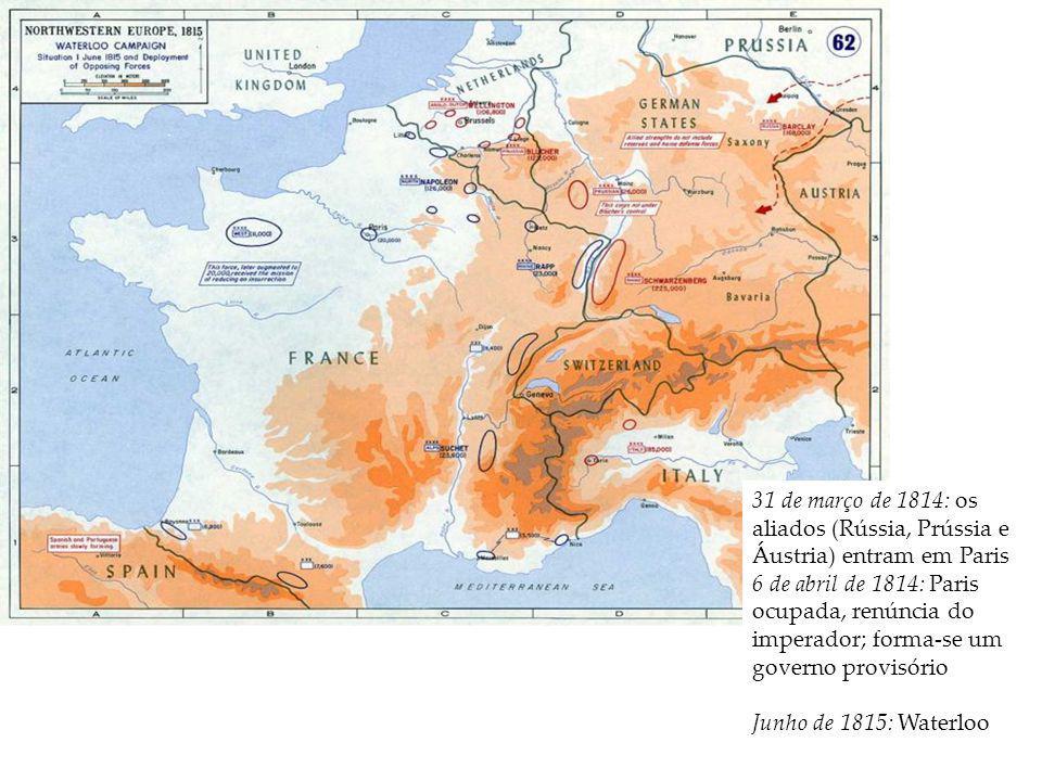31 de março de 1814: os aliados (Rússia, Prússia e Áustria) entram em Paris 6 de abril de 1814: Paris ocupada, renúncia do imperador; forma-se um gove