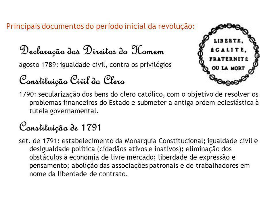 Principais documentos do período inicial da revolução: Declaração dos Direitos do Homem agosto 1789: igualdade civil, contra os privilégios Constituiç