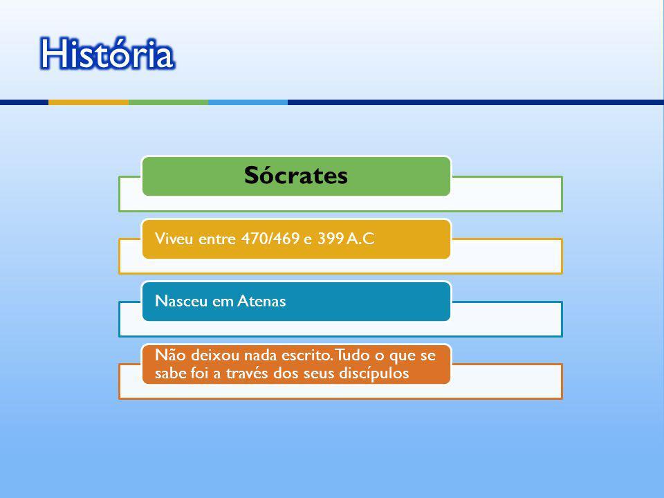 Sócrates Viveu entre 470/469 e 399 A.CNasceu em Atenas Não deixou nada escrito. Tudo o que se sabe foi a través dos seus discípulos