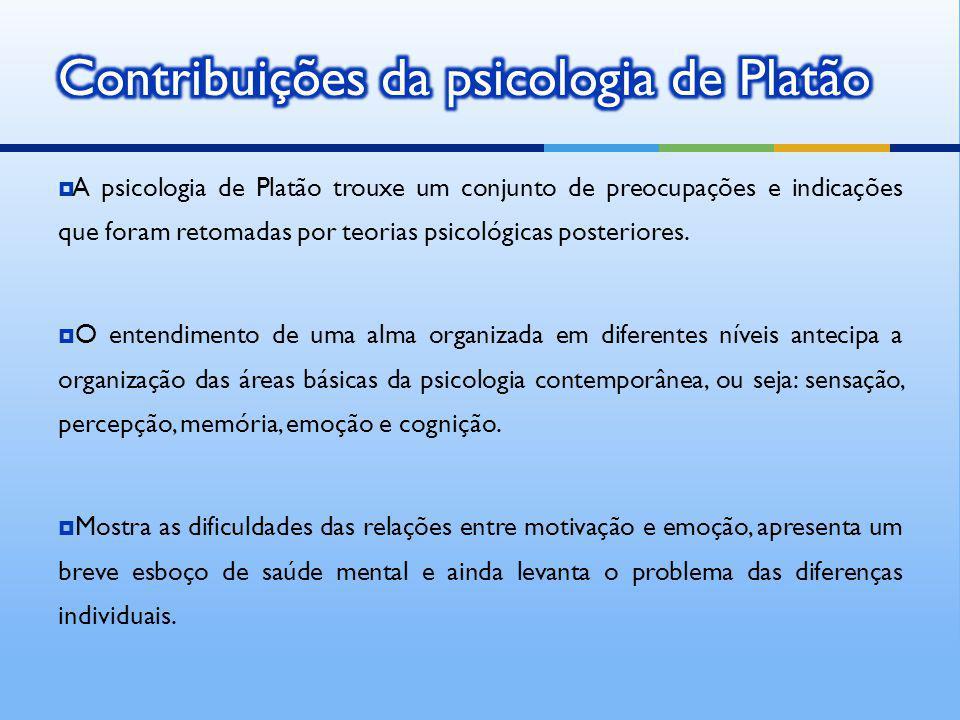 A psicologia de Platão trouxe um conjunto de preocupações e indicações que foram retomadas por teorias psicológicas posteriores. O entendimento de uma