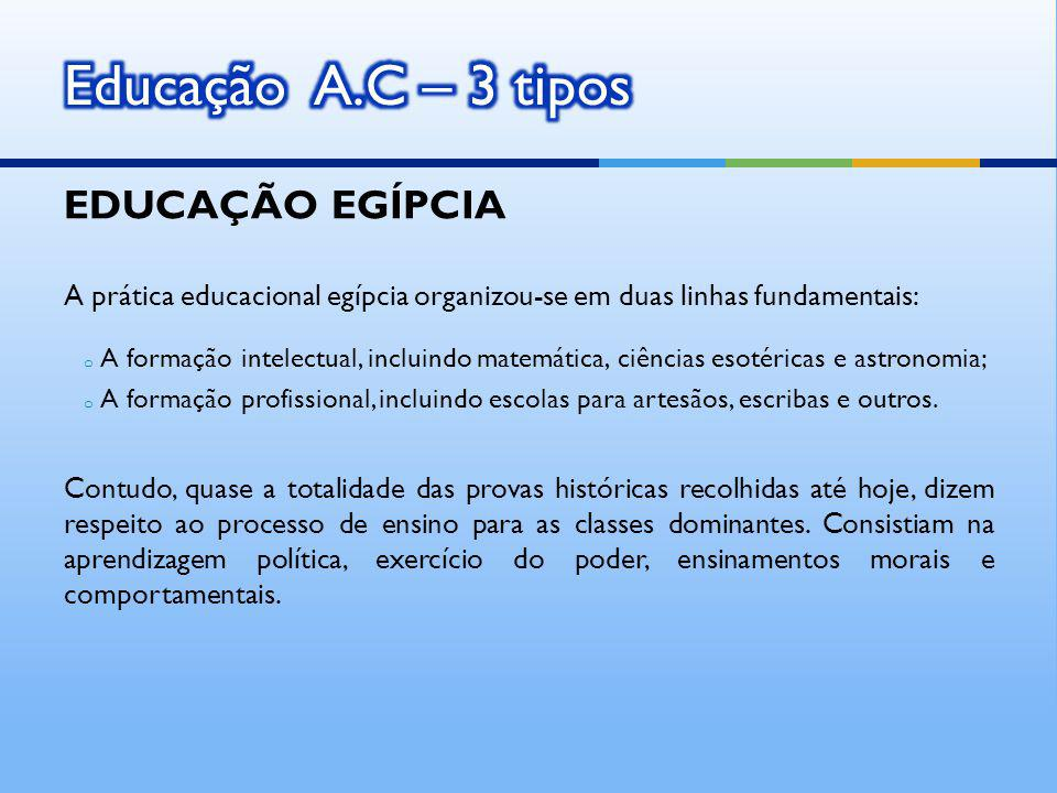 EDUCAÇÃO EGÍPCIA A prática educacional egípcia organizou-se em duas linhas fundamentais: o A formação intelectual, incluindo matemática, ciências esotéricas e astronomia; o A formação profissional, incluindo escolas para artesãos, escribas e outros.