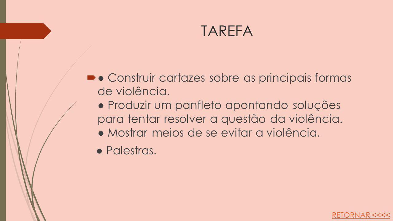 TAREFA Construir cartazes sobre as principais formas de violência. Produzir um panfleto apontando soluções para tentar resolver a questão da violência