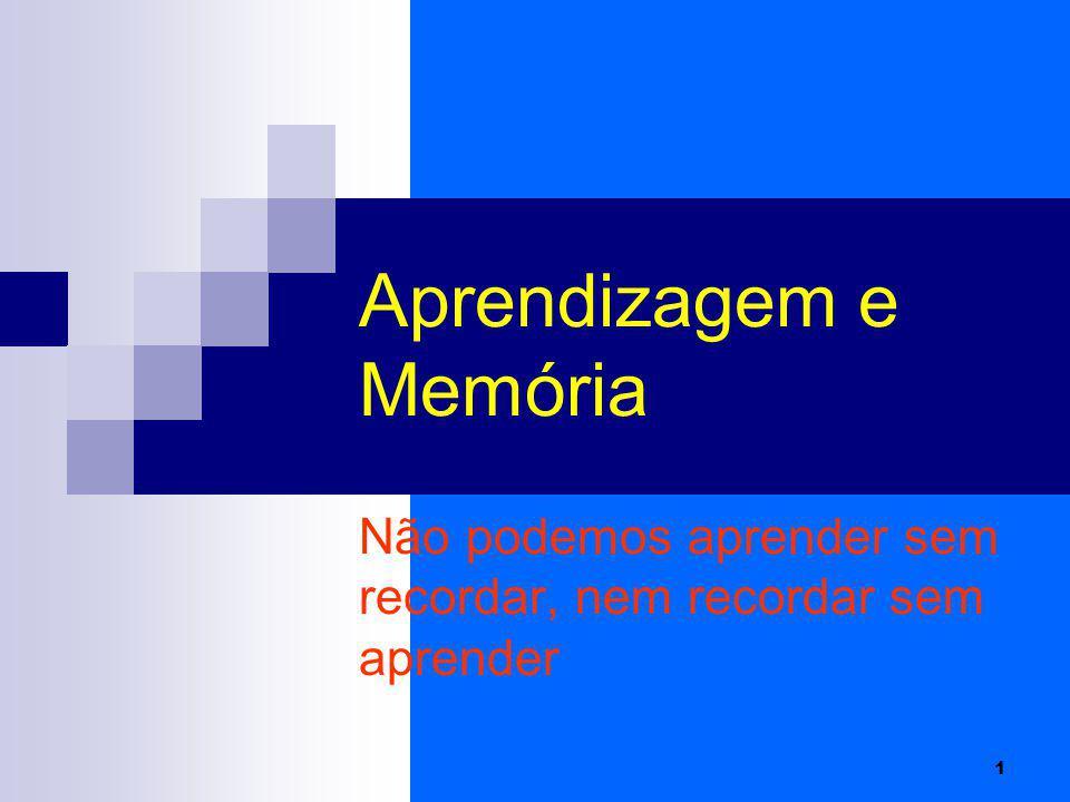 1 Aprendizagem e Memória Não podemos aprender sem recordar, nem recordar sem aprender