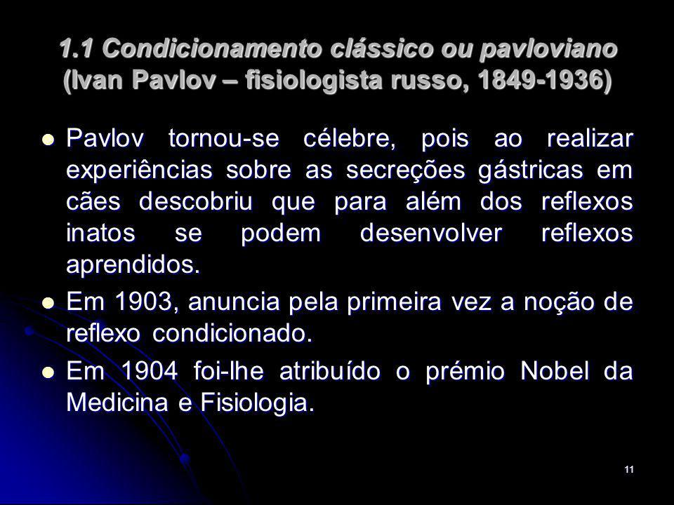 11 1.1 Condicionamento clássico ou pavloviano (Ivan Pavlov – fisiologista russo, 1849-1936) Pavlov tornou-se célebre, pois ao realizar experiências sobre as secreções gástricas em cães descobriu que para além dos reflexos inatos se podem desenvolver reflexos aprendidos.