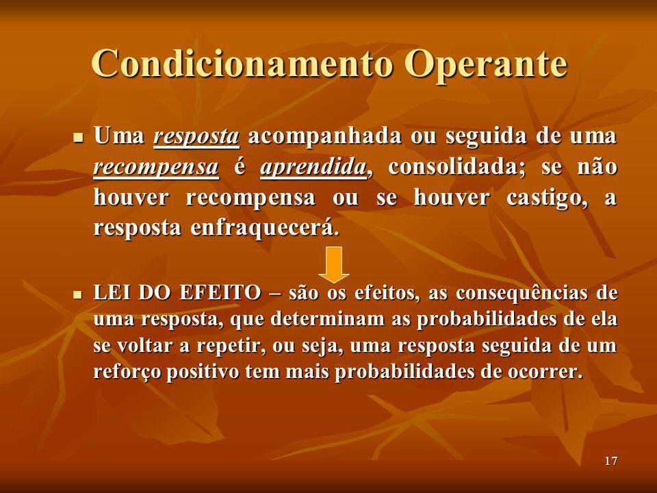 17 Condicionamento Operante Uma resposta acompanhada ou seguida de uma recompensa é aprendida, consolidada; se não houver recompensa ou se houver castigo, a resposta enfraquecerá.