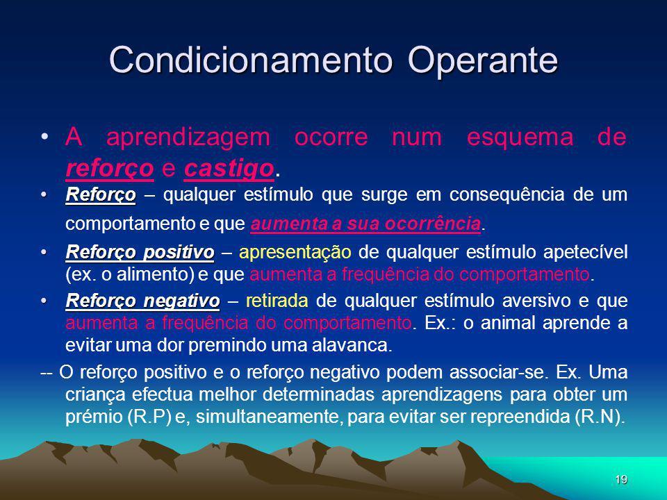 19 Condicionamento Operante A aprendizagem ocorre num esquema de reforço e castigo. ReforçoReforço – qualquer estímulo que surge em consequência de um