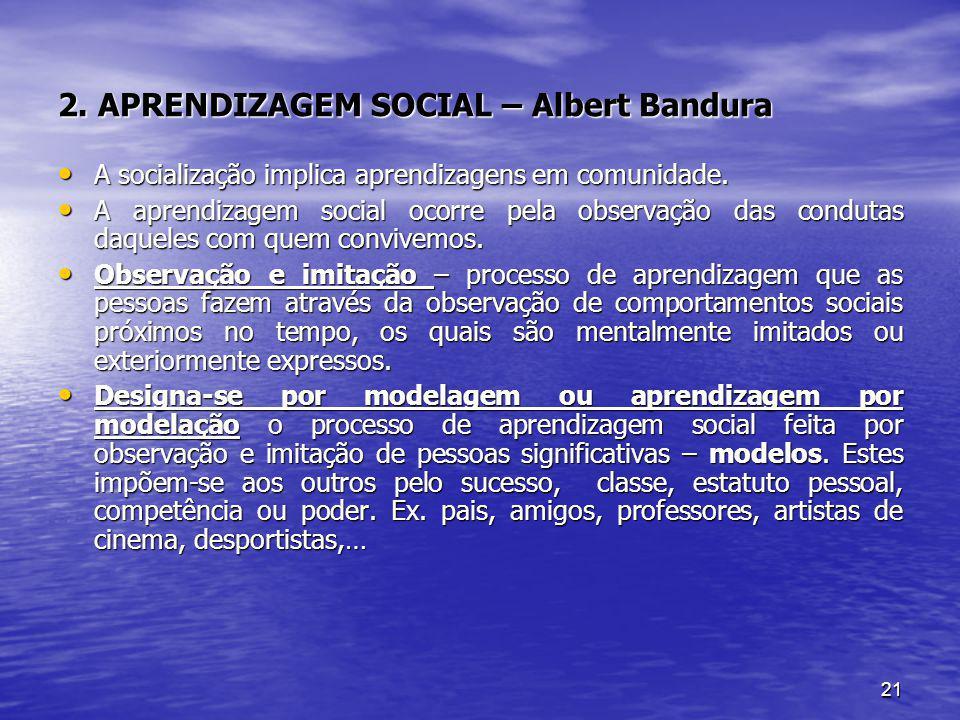 21 2. APRENDIZAGEM SOCIAL – Albert Bandura A socialização implica aprendizagens em comunidade. A socialização implica aprendizagens em comunidade. A a