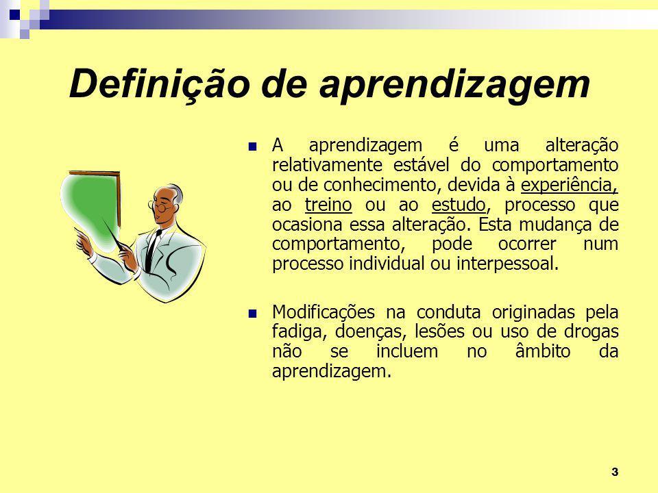 3 Definição de aprendizagem A aprendizagem é uma alteração relativamente estável do comportamento ou de conhecimento, devida à experiência, ao treino ou ao estudo, processo que ocasiona essa alteração.