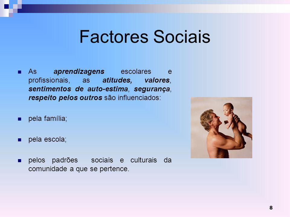 8 Factores Sociais As aprendizagens escolares e profissionais, as atitudes, valores, sentimentos de auto-estima, segurança, respeito pelos outros são influenciados: pela família; pela escola; pelos padrões sociais e culturais da comunidade a que se pertence.