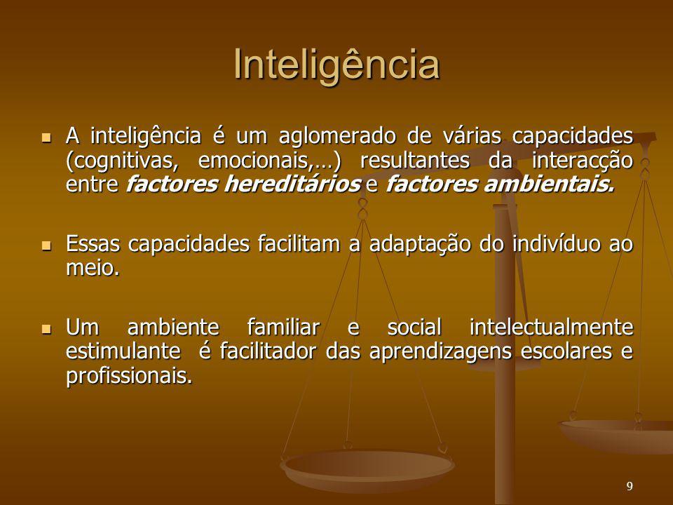 9 Inteligência A inteligência é um aglomerado de várias capacidades (cognitivas, emocionais,…) resultantes da interacção entre factores hereditários e factores ambientais.