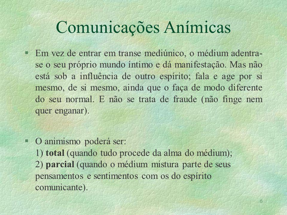5 Comunicações de Vivos §Em desdobramento, o espírito encarnado pode influenciar outra pessoa e usá-la como médium, manifestando-se através dela. Será