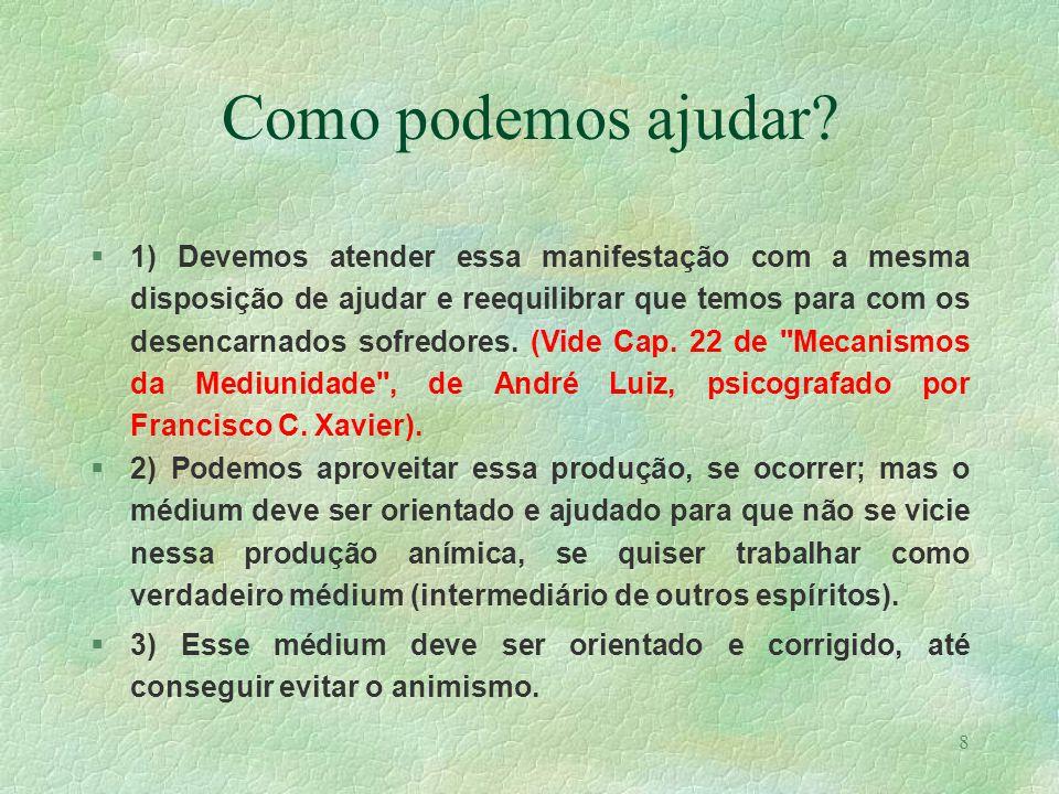 7 Como se manifestam? 1) como a de um espírito em sofrimento. 2) como a de um espírito superior ao médium. 3) resultado de uma sugestão ou impressão.
